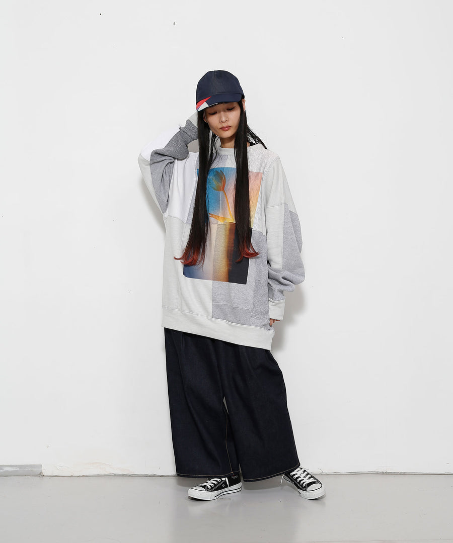 SWITCHING SWEATSHIRT P/O(w/ PRINT)/L.GRAY*dust_002