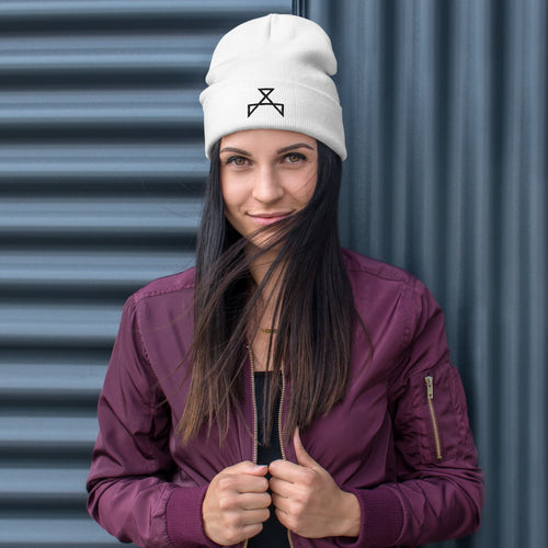 Embroidered Black Emblem Beanie