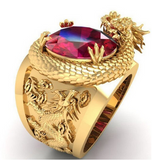 bague dragon chevaliere or
