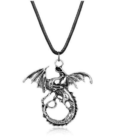 collier dragon argent style asiatique