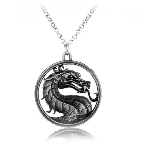 Collier dragon en acier du jeu video mortal kombat