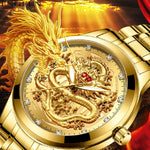 montre or dragon yeux rouge