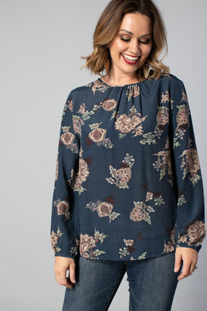 1090 - Knightly Top - Petrol Paisley