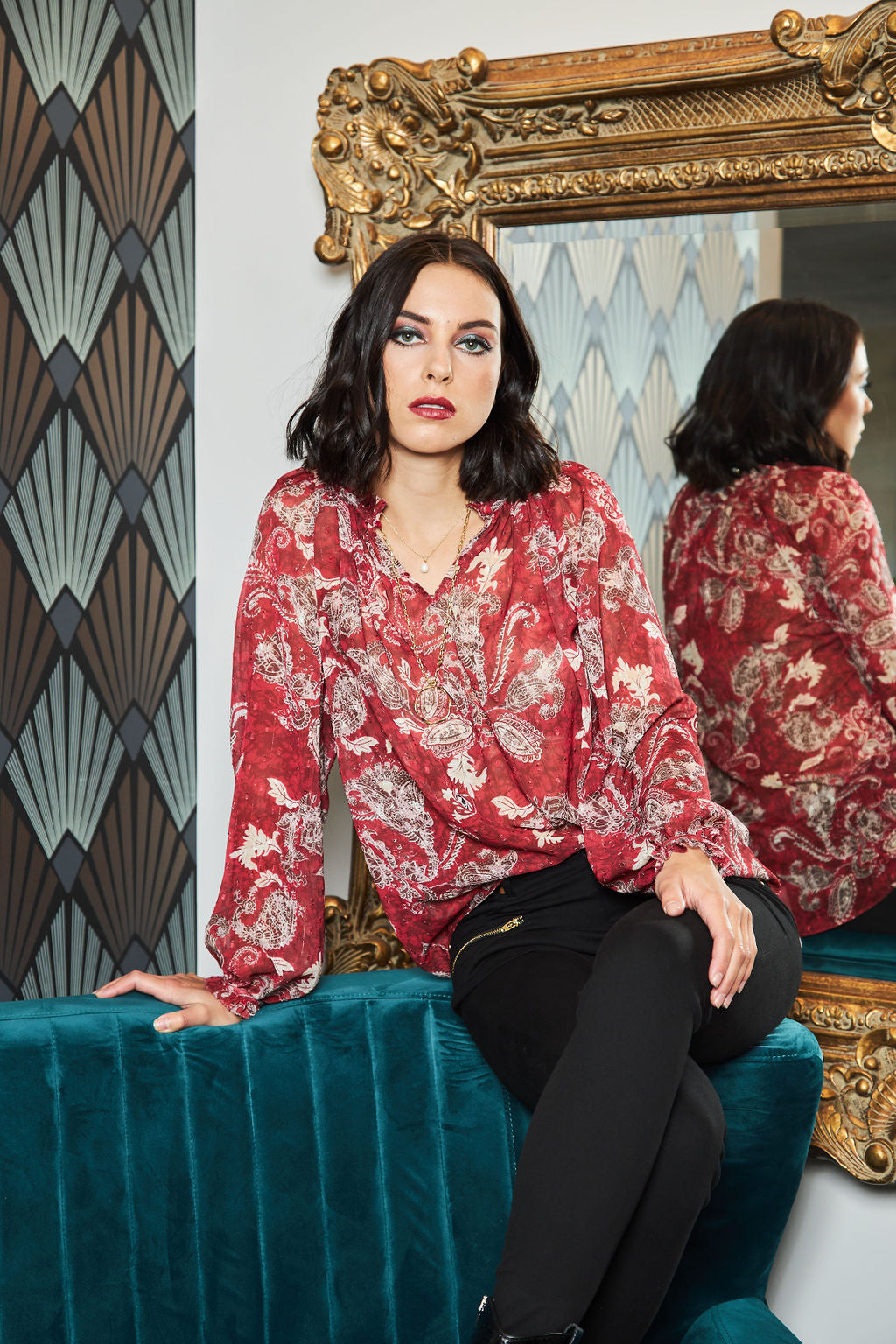 1098 - Bronie Blouse - Rouge Paisley