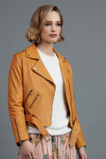 5012 - Starsky Leather Jacket - Saffron