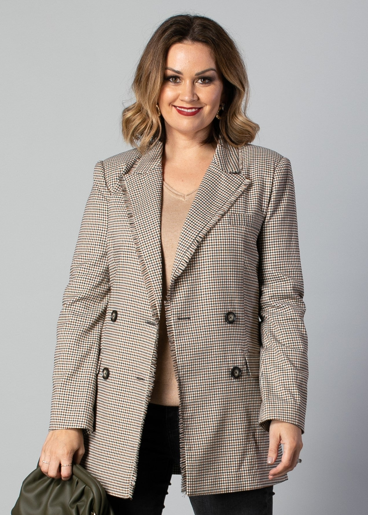 5024 - Adriana Blazer - Tan Check