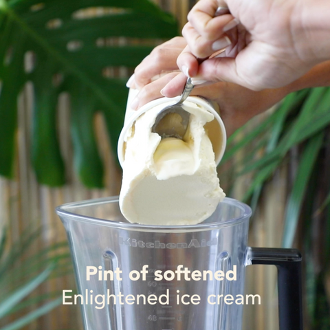 Adding a pint of softened Enlightened ice cream to a blender