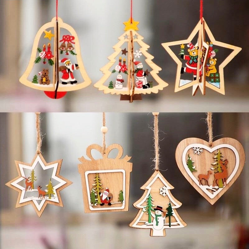 Xmas Wooden Decorations Ornaments