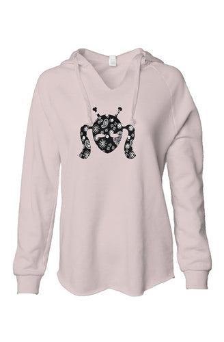 Soft Pink Hoodie with Far Out paisly sewn design