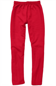White Embroidered Logo on Red Relaxed Sweatpants