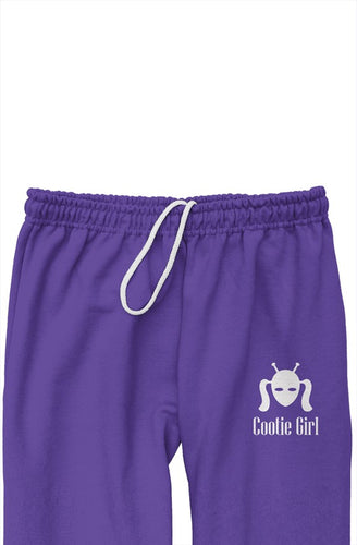 White Embroidered Logo on Purple Relaxed Sweatpants