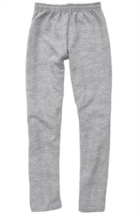 Pink Embroidered Logo on Gray Relaxed Sweatpants