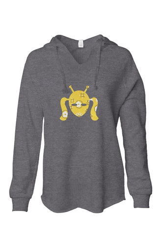 Soft Gray Hoodie with Sewn Cootie Design of Gold Floral Fabric
