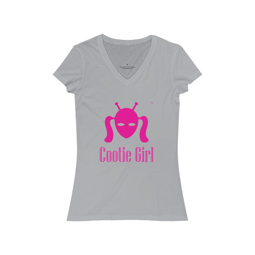 Women's Jersey Short Sleeve V-Neck Tee - Hot Pink logo printed both sides