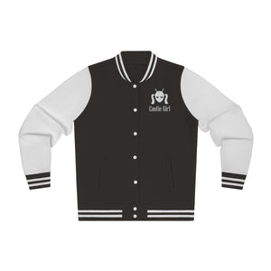 Women's Varsity Jacket in Charcoal with White Emroidered Logo