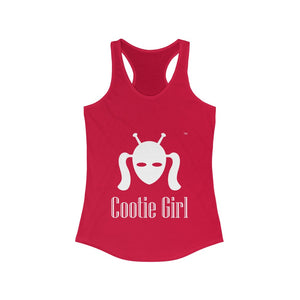 Women's Ideal Racerback Tank - White Logo on Red Tank  - printed both sides