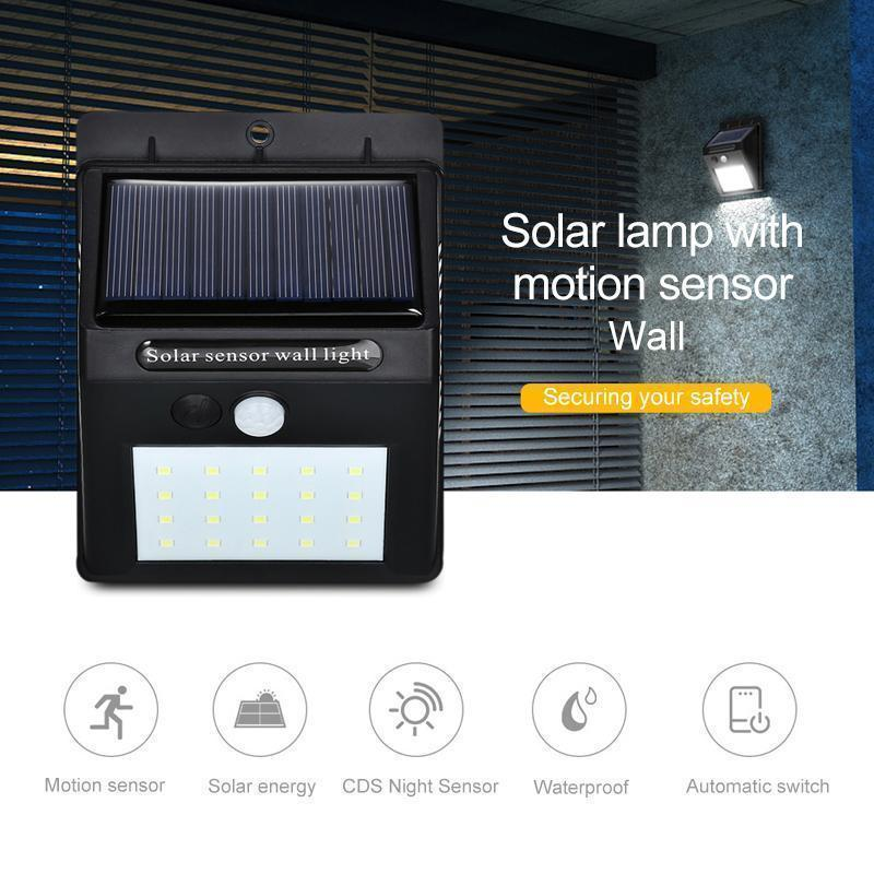 LED Solar Lamps Outdoor, Super Bright Wall Lamp with Motion Sensor (1Pcs)