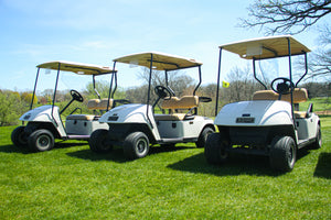 Golf carts equiped with Safe Wedge Protective Partitions