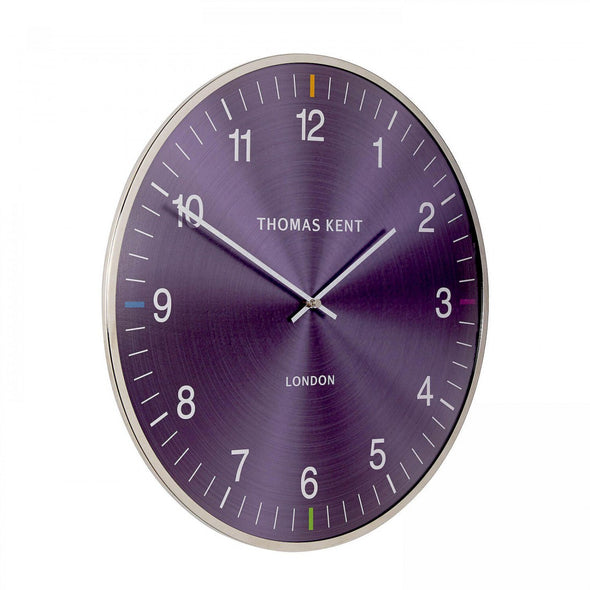Thomas Kent 40cm Amethyst Metal And Glass Dome Lens Round Wall Clock