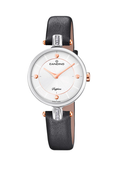 Candino Sapphire Swiss Made Ladies Leather Watch - Lady Elegance Grey
