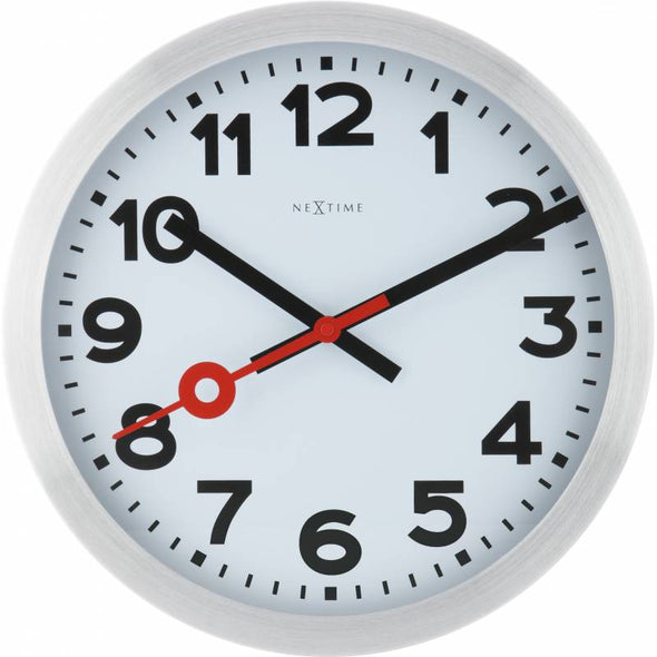 NeXtime 34cm Station Aluminium Round Wall Clock - Brushed