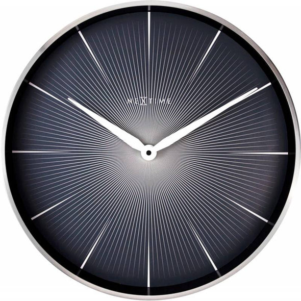 NeXtime 40cm 2 Seconds Metal Round Wall Clock - Black