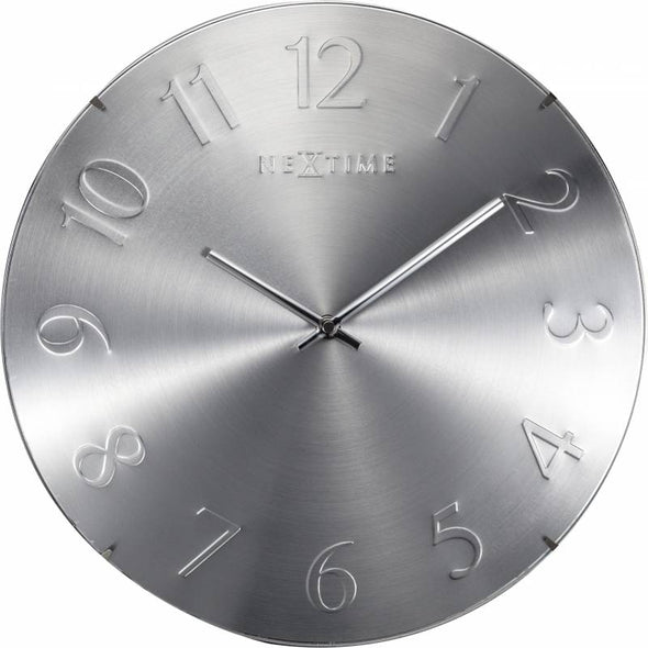 NeXtime 35cm Elegant Dome Shaped Glass Round Wall Clock - Silver