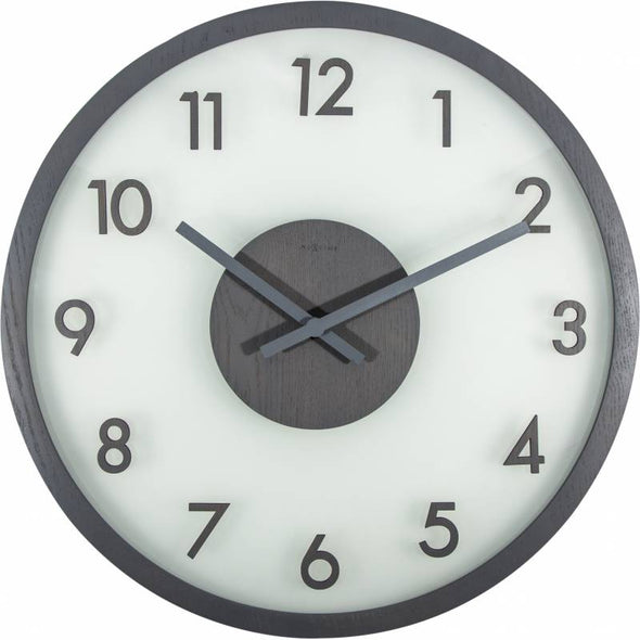 NeXtime 50cm Frosted Wood Glass & Wood Round Wall Clock - Grey