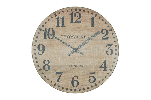 Thomas Kent 76cm Wharf Wood Effect Open Face Round Wall Clock