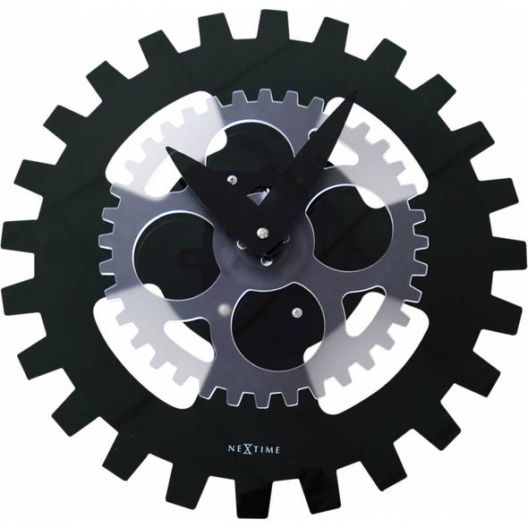 NeXtime 35cm Moving Gears Acrylic Motion Wall Clock - Black