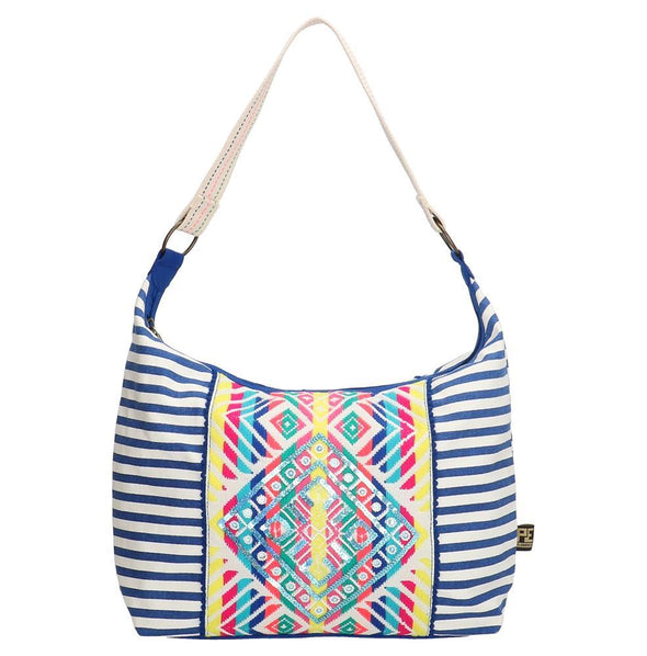 PE-Florence Royal White Ibiza Sun Ladies Shoulder Bag - Blue