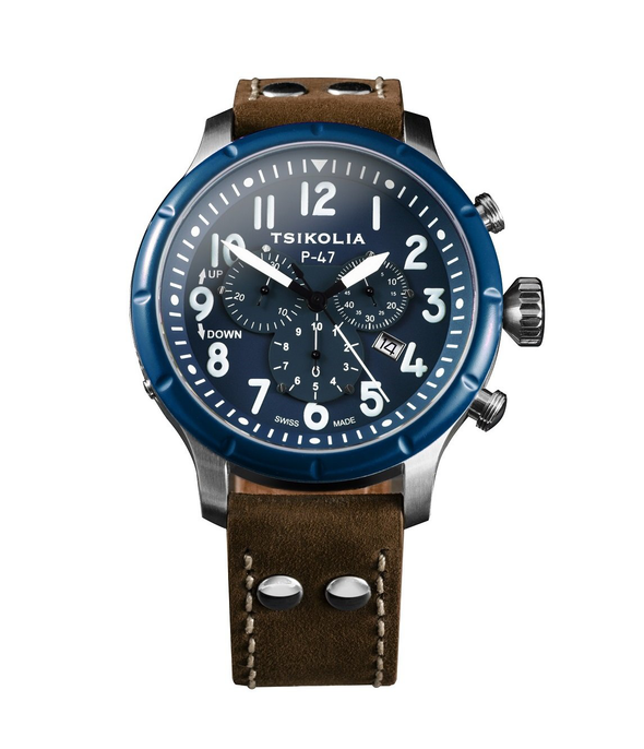 TSIKOLIA P47 Limited Edition Swiss Made Men's Leather Watch - Blue Bezel