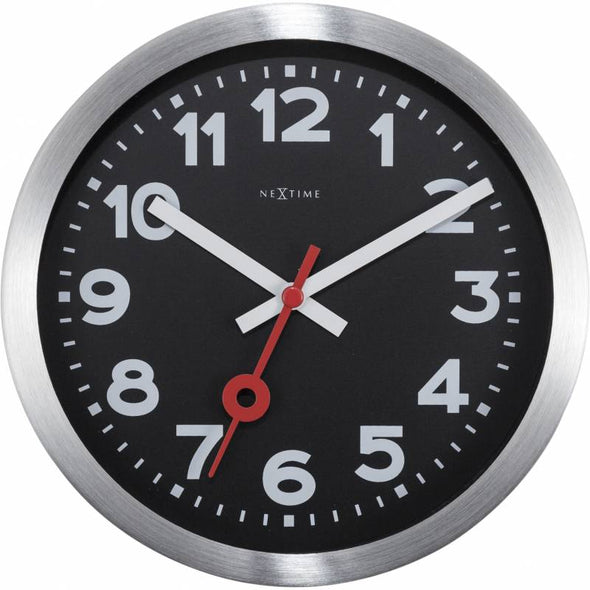 NeXtime 35cm Station Aluminium Round Wall Clock - Black