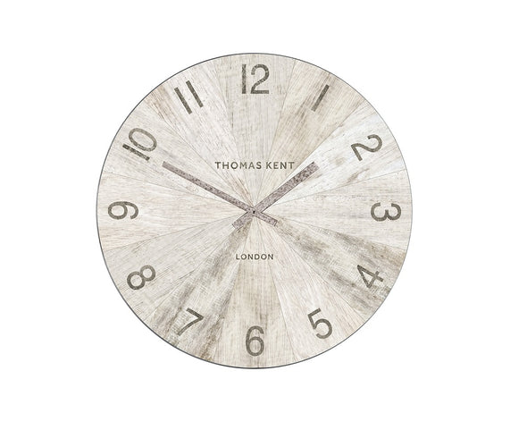 Thomas Kent 76cm Wharf Pickled Oak Open Face Round Wall Clock - White