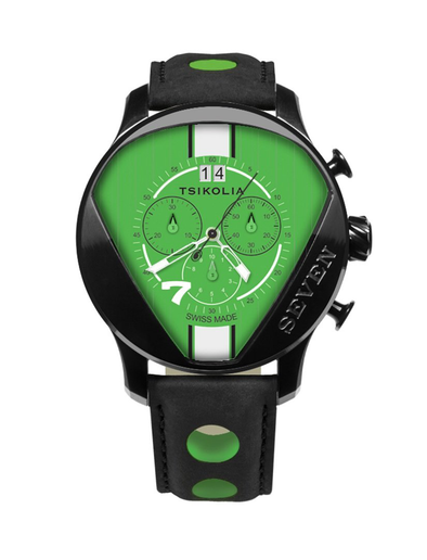 TSIKOLIA SEVEN Limited Edition Swiss Made Men's Leather Watch - Acid Green