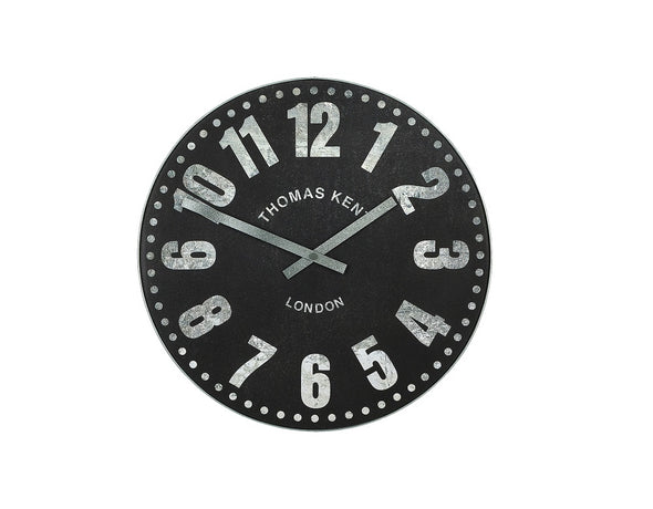 Thomas Kent 38cm Wharf Open Face Round Wall Clock - Black
