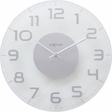 NeXtime 30cm Classy Round Transparent Glass Round Shaped Wall Clock