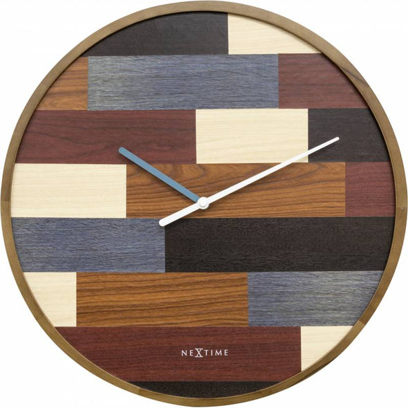 NeXtime 45cm Patch Wood Round Wall Clock - Various Colours
