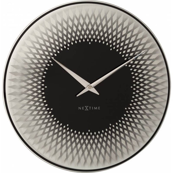 NeXtime 43cm Sahara Glass Round Wall Clock - Silver & Black