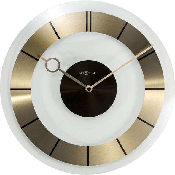 NeXtime 31cm Retro Glass Round Wall Clock - Gold