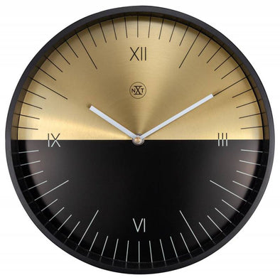 NeXtime 30cm Half Metal Round Wall Clock - Black & Gold