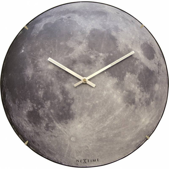 NeXtime 35cm Dome Glass Blue Moon Glow-in-the-dark Round Wall Clock