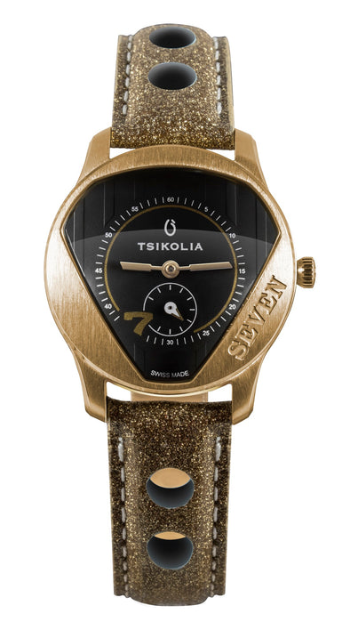 TSIKOLIA SEVEN Limited Edition Swiss Made Ladies Leather Watch - Black