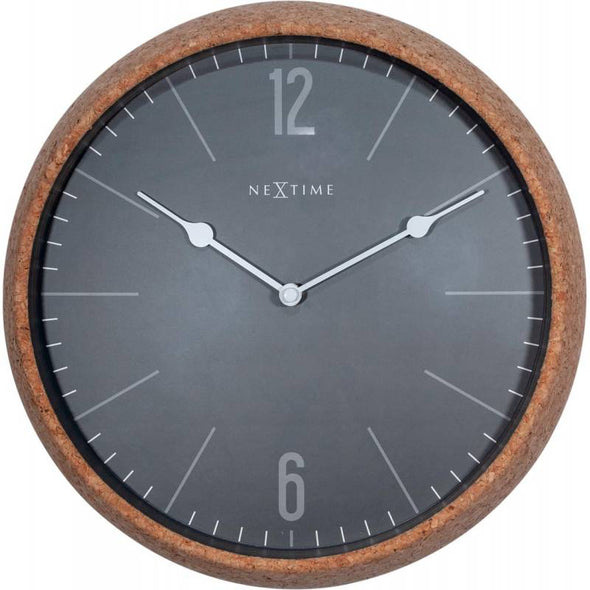NeXtime 30cm Cork High Case Glass Round Wall Clock - Grey