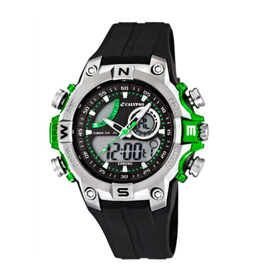 Calypso Digital & Analog Mens Week Indicator Watch - Green & Black