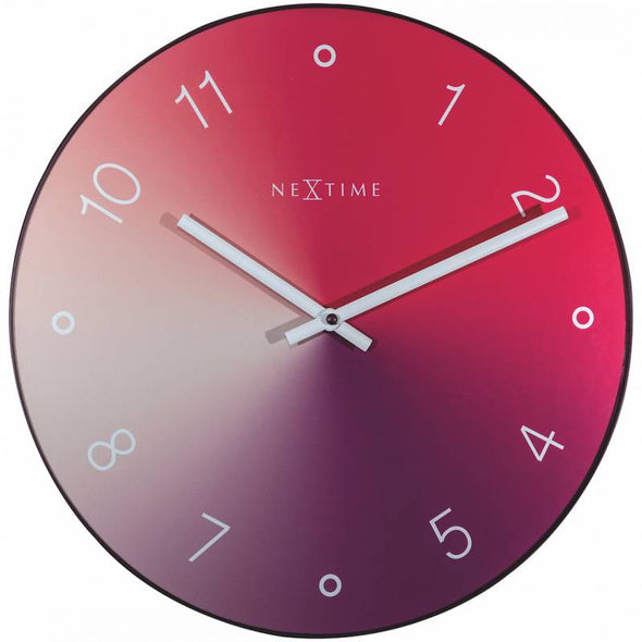 NeXtime 40cm Gradient Glass & Metal Round Wall Clock - Red