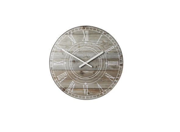 Thomas Kent 17.5cm Wharf Driftwood Mantel Round Wall Clock - Light Brown