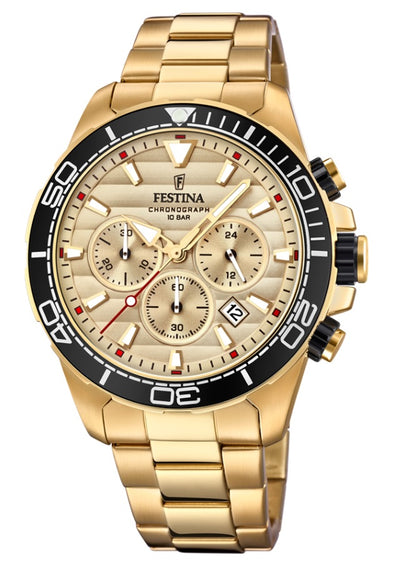 Festina Prestige Stainless Steel Analogue Men's Wrist Watch - Gold F20364/1