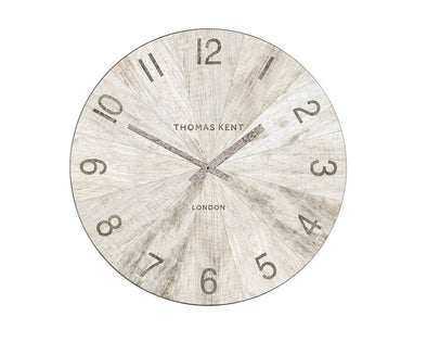 Thomas Kent 114cm Wharf Pickled Oak Open Face Round Wall Clock - White