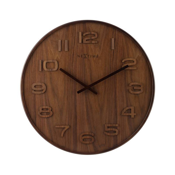 NeXtime 53cm Wood Wood Big Round Wood Wall Clock - Brown